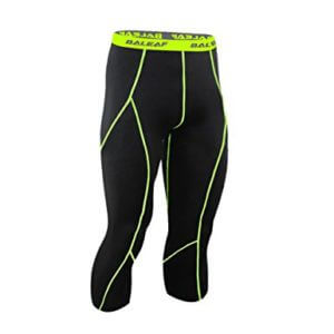 Baleaf Men's Running Workout Tight 3-4 Compression Leggings